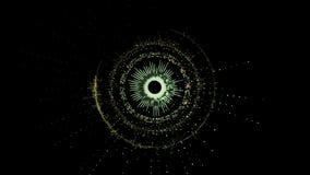 Abstract futuristisch roterend groen cirkelmechanisme met verscheidene delen stock illustratie