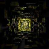 Abstract Futuristisch Sc.i-de Zaal van FI Donker Geel Licht Behang Als achtergrond vector illustratie