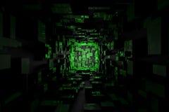 Abstract Futuristisch Sc.i-de Zaal van FI Donkergroen Licht Behang Als achtergrond royalty-vrije illustratie