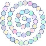 Abstract futuristisch spiraalvormig labyrint, patroonmalplaatje voor kinderen` s spelen, witte cirkel Blauwe lilac purpere die co Stock Foto's