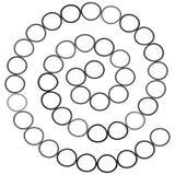Abstract futuristisch spiraalvormig labyrint, patroonmalplaatje voor kinderen` s spelen, witte Cirkels Zwarte die contour op witt vector illustratie