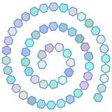 Abstract futuristisch spiraalvormig labyrint, patroonmalplaatje voor kinderen` s spelen, witte Zeshoeken Blauwe lilac purpere die Royalty-vrije Stock Foto's