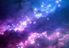 Abstract Galaxy Background. Abstract pink and blue galaxy background filled with bright stars. Raster illustration Royalty Free Stock Image