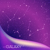 Abstract galaxy background with star constellations, milky way, stardust, nebula and bright shining stars. Cosmic design Royalty Free Stock Image
