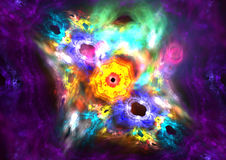 Abstract galaxy fractal. Colorful abstract fractal illustration in a galaxy formation stock illustration