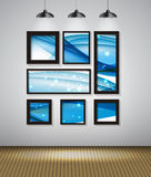 Abstract Gallery Background with Frame and Beautiful Wave. Vecto Stock Images
