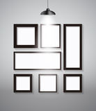 Abstract Gallery Background with Lighting Lamp and Frame. Empty Royalty Free Stock Photography
