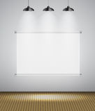Abstract Gallery Background with Lighting Lamp and Frame. Empty Space for Your Text or Object. Stock Photo