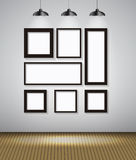 Abstract Gallery Background with Lighting Lamp and Frame. Empty Stock Photography