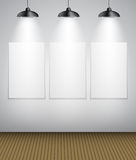 Abstract Gallery Background with Lighting Lamp and Frame. Empty Royalty Free Stock Images