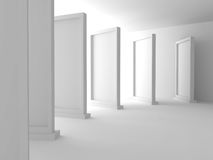 Abstract Gallery Background with Many Standing Frames. 3d Render Illustration Stock Photos
