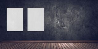 Abstract gallery room with dark plaster wall, wooden floor and b stock illustration
