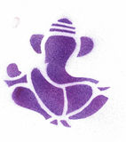 Abstract Ganesha Indian God purple. Purple spray paint with white background Royalty Free Stock Photography