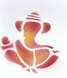 Abstract Ganesha Indian God Red. Red spray paint with white background Stock Photography