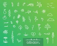 Abstract garden graphics set. Abstract garden theme line drawing shape set Stock Image