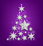 Abstract Garland Made of Silver Stars for Happy Royalty Free Stock Images