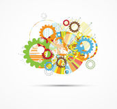 Abstract gear digital computer technology business background Royalty Free Stock Images