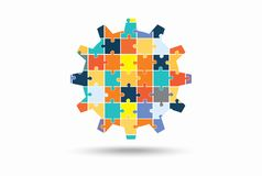 Abstract gear made of puzzle pieces Stock Image