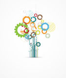 Abstract gear tree digital computer technology business backgrou Royalty Free Stock Images