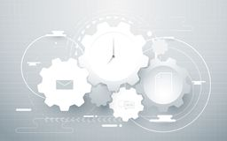 Abstract gear wheel, geometric lines and social icons. work time business concept Stock Image