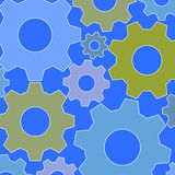 Abstract gear-wheels pattern olive green blue gray Royalty Free Stock Image