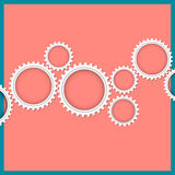 Abstract gear wheels on pink background Stock Photo