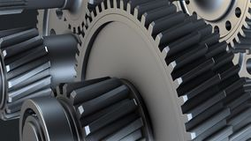 Rotating metal gears, shafts and bearings. Abstract Gearbox Concept. Rotating metal gears, shafts and bearings on black background. 3D illustration video royalty free illustration