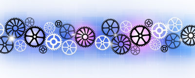 Abstract Gears Banner. Abstract technology business banner with motion gears Stock Photos