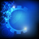 Abstract gears on blue background Stock Photo