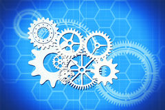 Abstract gears. Illustration of gears on abstract technical background royalty free illustration