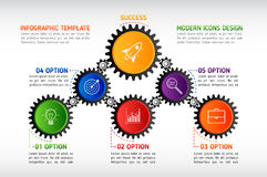 Abstract gears infographic. Mechanism with integrated gears and Stock Photos