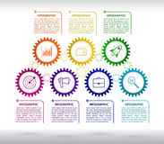 Abstract gears infographic. Mechanism with integrated gears and Royalty Free Stock Images