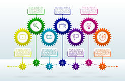 Abstract gears infographic with 7 steps. Mechanism with integrat Royalty Free Stock Image