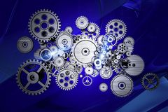 Abstract Gears Machine. Ry on Dark Blue Abstract Background Royalty Free Stock Photos