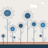 Abstract Gebied van Blauwe Zonnebloemen Stock Foto's