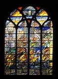 Abstract gebrandschilderd glas, Kerk van St Gervais en St Protais, Parijs Royalty-vrije Stock Foto