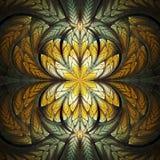 Abstract gebrandschilderd glas met bloemenpatroon op zwarte achtergrond Stock Foto's
