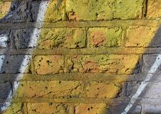 Abstract Geel Gray Painted Bricks Wall Royalty-vrije Stock Foto