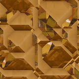 Abstract generated 3d metal background of blocks with gold shiny facets. Gold, brown and orange background of geometric blocks and light reflections Stock Photos