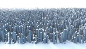 Abstract City Skyline 3D Simple Blocks Buildings. Abstract and generic 3d simple city blocks buildings skyscrapers skyline landscape Stock Images