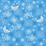 Abstract gentle blue Christmas pattern. With snowflakes and birds, vector eps 8 stock illustration