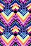 Abstract geo shapes in zigzag design - seamless background. Original geometric design, triangles, stripes and zigzags in bright colors Royalty Free Illustration