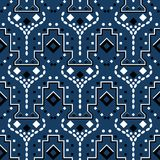 Abstract geomertic royal blue seamless pattern. Abstract geometric royal blue seamless pattern design Stock Photos