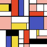 Mondrian art style. Abstract geometric art pattern - Mondrian style squares and rectangles vector stock illustration