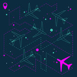 Abstract geometric background with airplanes. Vector illustration Royalty Free Stock Photos