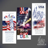 Abstract geometric background,banners, flag of USA. Abstract geometric background flag of USA, with a sketch picture statue of Liberty. Design of banners,flyers Stock Images