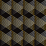 Abstract Geometric background. Abstract geometric black background. Gold and silver diagonal crossed shapes on black background. Abstract composition for art stock illustration