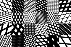 Abstract geometric background with black and white cross diagonal striped pattern Stock Image