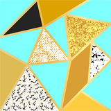 Abstract geometric background in blue, black, white, gold and glitter. Stylish abstract composition for posters, cards, cover design stock illustration