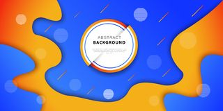 Abstract geometric background with blue and orange colors. Futuristic poster design with fluid gradient shapes. Vector illustration royalty free illustration
